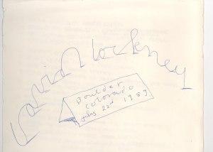David Hockney's autograph