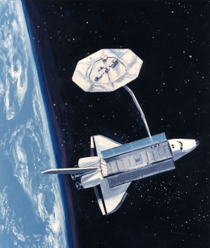 Shuttle with Wake Shield for SVEC, NASA