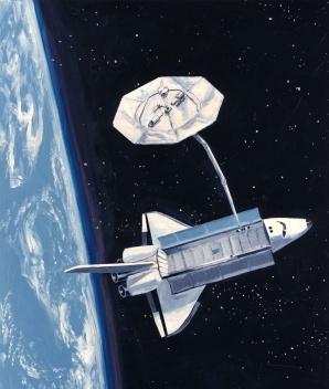 Shuttle with Wake Shield for SVEC, NASA
