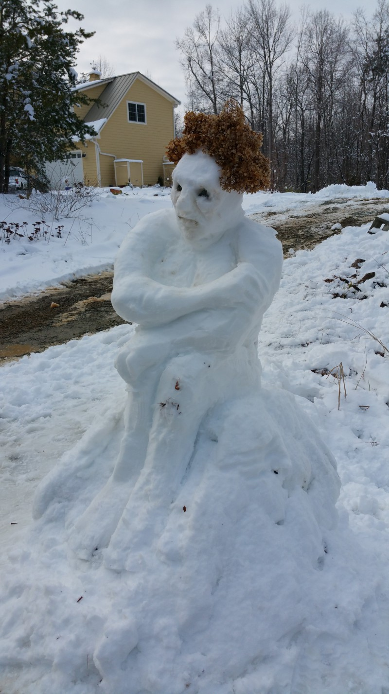Cold, weary snowman shivers alone.
